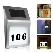 LED Solar Powered Light Sign House Hotel Door Address Plaque Number Digits Plate
