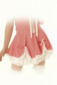 Gingham Dolly Skirt by Phaze Clothing Alternative Satin Bows Lace Edge