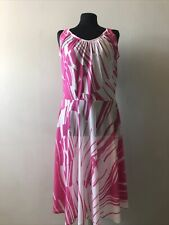 Vintage Ladies Pink White Sleeveless Slinky Dress Small