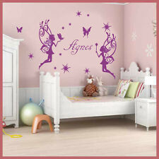 Wall Stickers custom baby name fairy 2 angels star vinyl decal decor Nursery kid