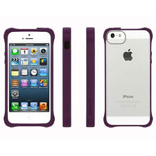 NEW GRIFFIN SURVIVOR IPHONE 5 5S CLEAR CASE COVER PURPLE RUBBER BUMPER GB36414