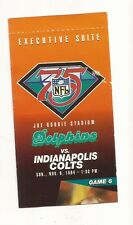 Miami Dolphins Ticket Stub From Nov. 6, 1994 vs Indianapolis Colts