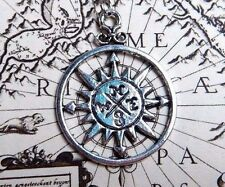 SILVER COMPASS ROSE PENDANT chain necklace steampunk explorer traveler pirate C6