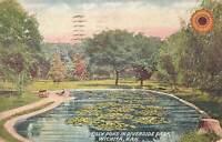 Vintage 1911 Postcard Lilly Pond in Riverside Park Wichita Kansas color stamped