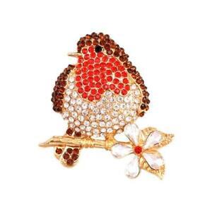 Christmas Brooch Badge Pins Rhinestone Enamel Broach Robin Xmas Gift z Red W1P8