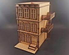 Greystone Building with Fire excape for Batman,  Malifaux MDF Terrain Mini Duels