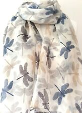 Cream Ivory Dragonfly Scarf Ladies Navy Blue Grey Beige Dragonflies Wrap Shawl