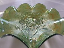 Imperial Glass Rare Helios Green Pansy Crimped Pansy Bowl With Arcs Pattern
