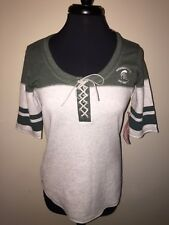 Michigan State Antigua Women's NCAA NWT Medium Green/Heather Soft S/S Shirt Lace