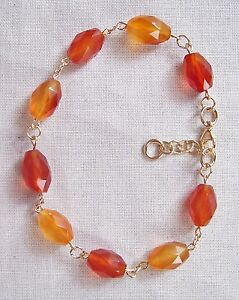AA Grade Carnelian Bracelet with 14k Gold Filled Clasp, Chain, Jump Rings & Wire