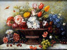Fantastic and framed RUTH WAITE oil on board,still life studies flowers & fruit