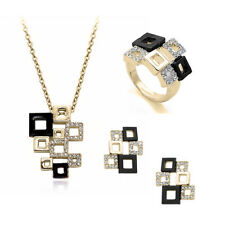 Fashion silver gold plated Square jigsaw stud necklace ring women jewelry set
