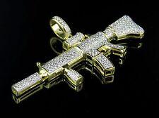 "Sterling Silver .925 New M4-A1 Rifle Diamond Yellow Finish Charm Pendant 2.1"""
