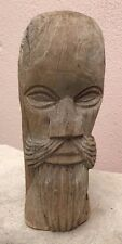 WOOD-CARVED MAN WITH BEARD TIKI ? TAHITIAN ? MOAI ? EASTER ISLAND ?