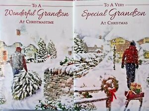 GRANDSON CHRISTMAS CARD  ~ CHOICE OF 2 MODERN DESIGNS ~ QUALITY CARD NICE VERSE