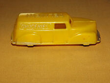 VINTAGE  OLD MADE IN USA TOY  RENWAL YELLOW PLASTIC GROCERIES DELIVERY TRUCK