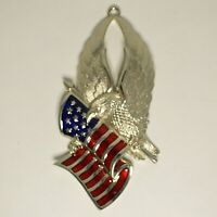 Gorham Silver Eagle Enameled American Flag Christmas Ornament United We Stand