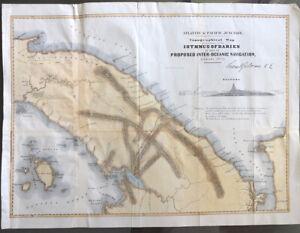 "1852 Darien Isthmus Panama InterOceanic Ship Canal Map 20"" x 15"" - Gisborne"