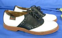 G.H. BASS Vintage BLACK & WHITE LEATHER SADDLE OXFORDS Shoes Loafers Flats 5 M