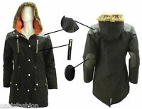 NEW LADIES QUILTED FUR HOODED FISHTAIL ZIP UP WINTER PARKA JACKET COAT SIZE 8-20
