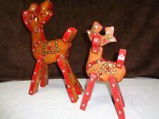 "Vintage Christmas 2-Pc Set Handmade/Painted Wood Reindeer - 15 1/4"" & 12 1/2"""
