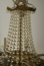"Vintage 6 Layer 10 Lights Crystal and Brass Chandelier 26 "" x 26"""