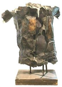 Dramatic Mid-Century Huge Monumental Brutalist Torched Steel Sculpture of Torso