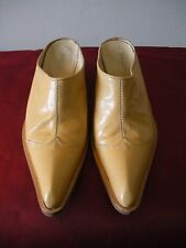 BOOTIES~~!!! $395 AMARANTI Tan Yellow Leather Booties Shoes BOOTS Italy 38  7.5M