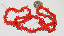 Red Bamboo Coral chip Beads approx 1.5x6mm  (12019)