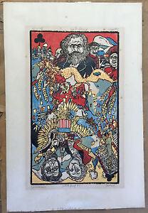 Rare Ted Davies Woodblock Print Capitalism Communism Signed A/P 1967 Political