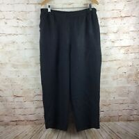 FLAX Womens 100% Linen Stretch Black Cropped Capri Pants w/ Pockets Size Large
