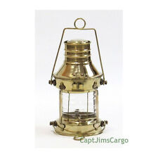 "Brass Ship's Anchor Oil Lamp Lantern 9"" Fresnel Lens Nautical Decor New"