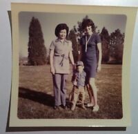 Vintage 70s Photo Cute Asian Woman w/ Tall Sister In Law Baby Badminton Rackets