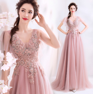 Gorgeous V Neck Embroidery Flowers Empire Waist Evening Dress Party Prom Gown