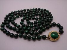 "VINTAGE KNOTTED MALACITE STONE NECKLACE  WITH GOLD TONE CLASP 30"" FLAPPER LENGTH"