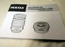 Pentax 16-45mm 18-55mm DA Lens Instruction Manual Guide English  EN OEM