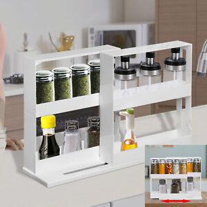 2 Tiers Rotating Jars Spice Rack Organiser Free Standing Kitchen Storage Holder
