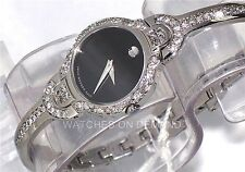 New Ladies Movado Kara Black Dial 0605247 0.90ct (Approximitaly) Diamond Watch *