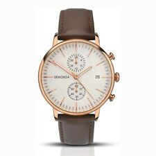 Sekonda 40mm Gents Rose Gold Chronograph Watch With Brown Leather Strap SK1381