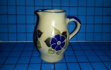 HANDARBEIT Art Pottery Miniature Pitcher Creamer FLOWERS Salt Glaze Exc Cond