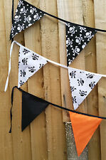 Halloween Black Orange Skull Crossbones Pirates Bunting Banner Party Decoration