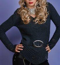 Damen V-Pullover Loch Strick Miss Pulli Zier-Gürtel Look 34/36/38 NEU grau TOP