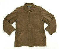 Vintage Polo Ralph Lauren Suede Leather Jacket Mens Size L Large Bomber Brown