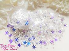 Nail Art Translucent Holographic *Mrs Claus* Snowflake Hexagon Glitter Dust  Pot