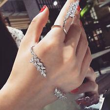 Fashion Jewelry Zircon Hand Cuff Leaf Crystal Palm Bracelet Bangle Ring Gift Set
