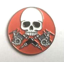 SKULL - LAPEL PIN BADGE  - BIKER BIKES MOTORBIKE HELLS ANGEL MECHANIC  (NB-78)