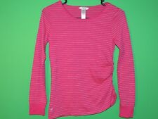 Guess Girls Youth Size L Large (14) Dark Pink Striped Long Slv Shirt / Top NEW