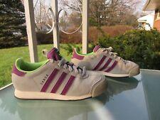 adidas Samoa Grey/Purple 3-Stripe Retro Tennis Shoes Sneakers, Mens size 5.5