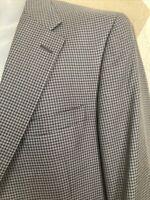 Hickey Freeman Mens Sport Coat 44R Gray Black Check Wool Silk Jacket 2 button