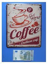 "Targa vintage ""Coffee endless cup"" tazza di caffè cappuccino, metallo, cm 25x20"